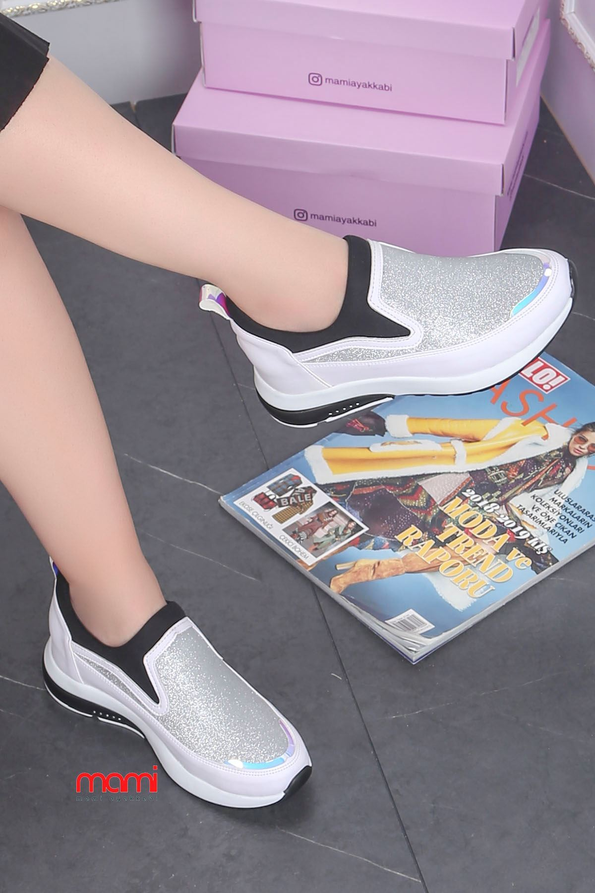 Frm-201 Spor Ayakkabı  Gizli Topuk Beyaz Sim Detay