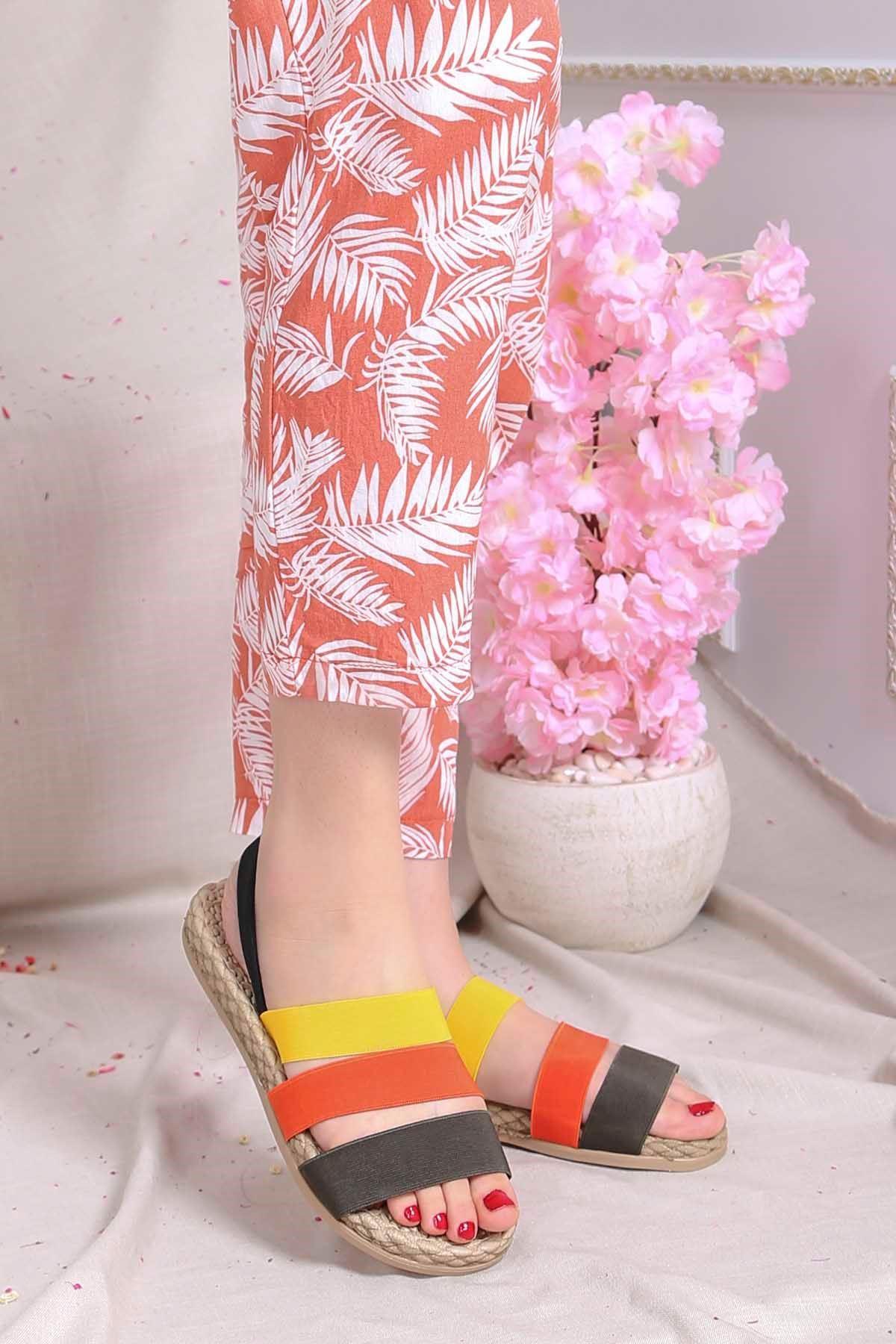 Brk-2020 Lastikli Sandalet Haki Turuncu Sarı