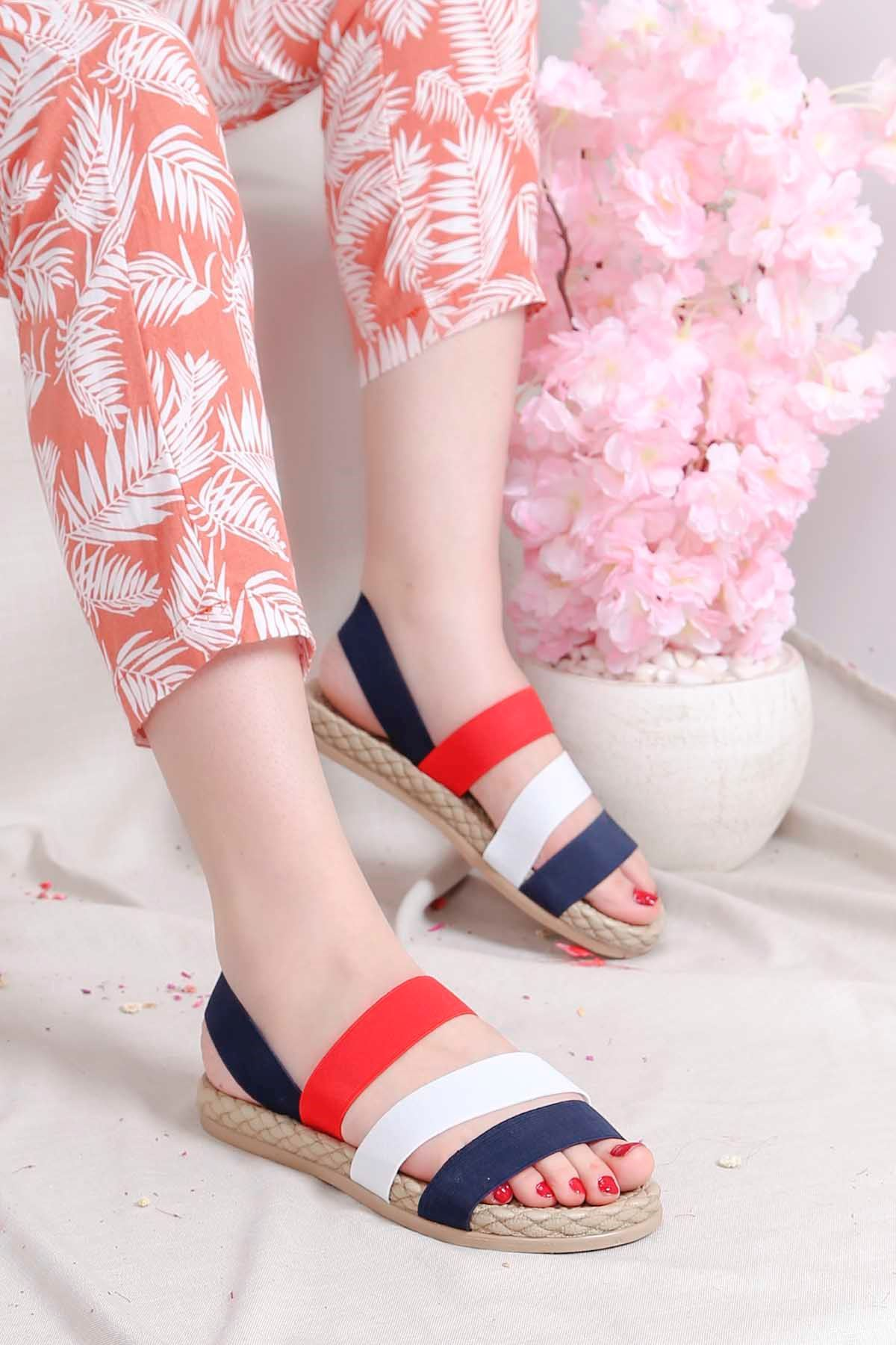 Brk-2020 Lastikli Sandalet Siyah Beyaz Kırmızı