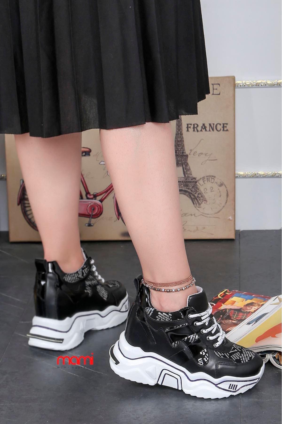 Zr-301 Gizli Topuk Topuk Spor Ayakkabı Siyah