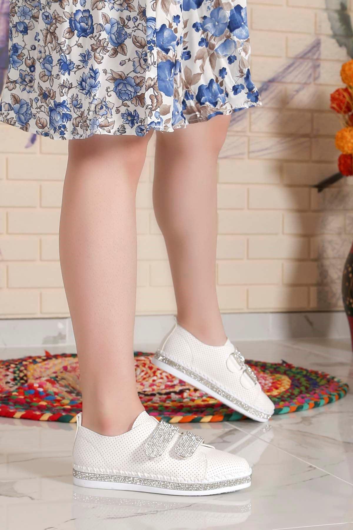 My-Fit 101 Cırtlı sneakers Taş Detay Beyaz