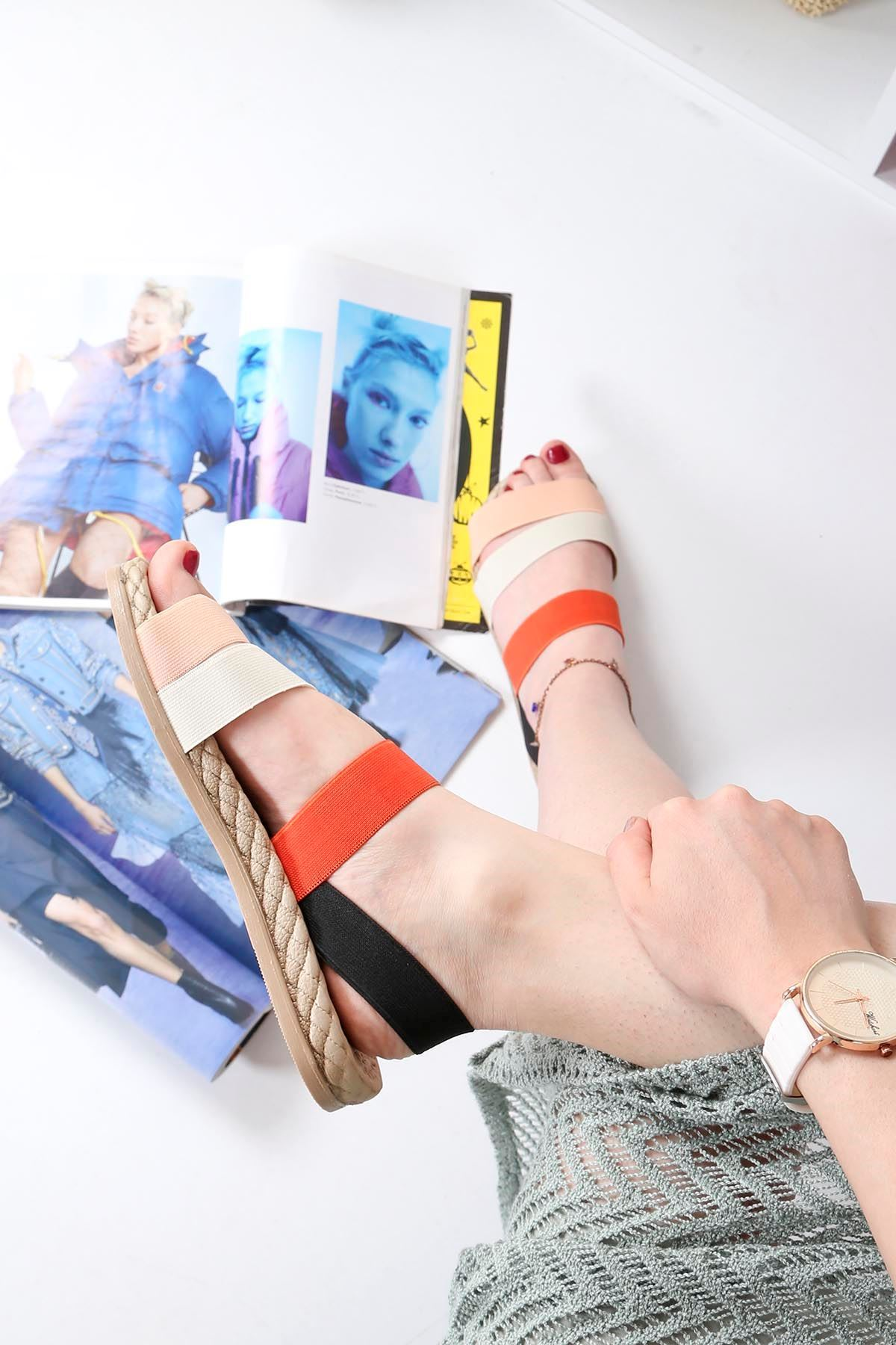 Brk-2020 Lastikli Sandalet pudra Beyaz Turuncu