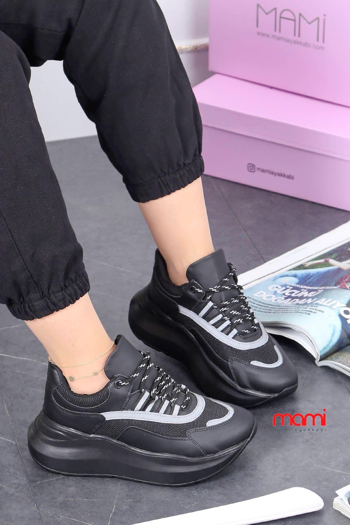 Mrt-700 Spor Ayakkabı Balon Taban Siyah Deri Gri Detay