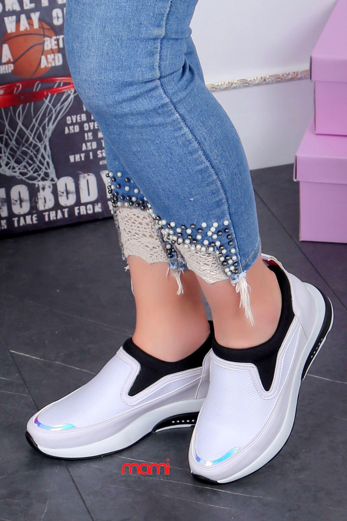Frm-201 Spor Ayakkabı  Gizli Topuk Beyaz Anorak