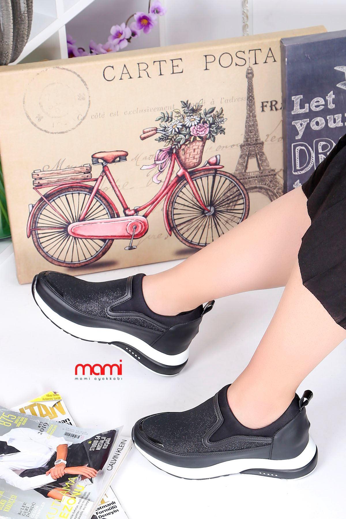 Frm-201 Spor Ayakkabı  Gizli Topuk Siyah Sim Detay
