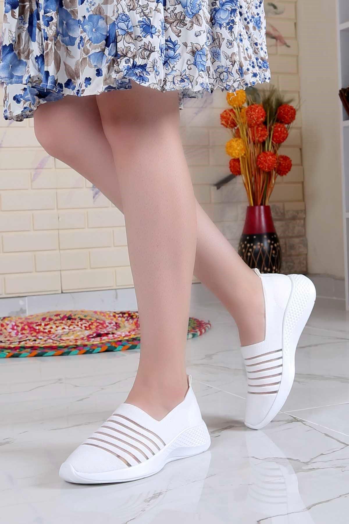 My-Fit-301 Triko Tül Detay Spor Ayakkabı Beyaz