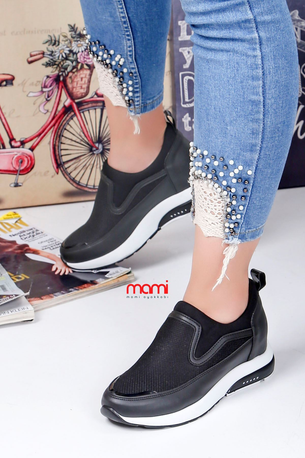 Frm-201 Spor Ayakkabı  Gizli Topuk Siyah Anorak