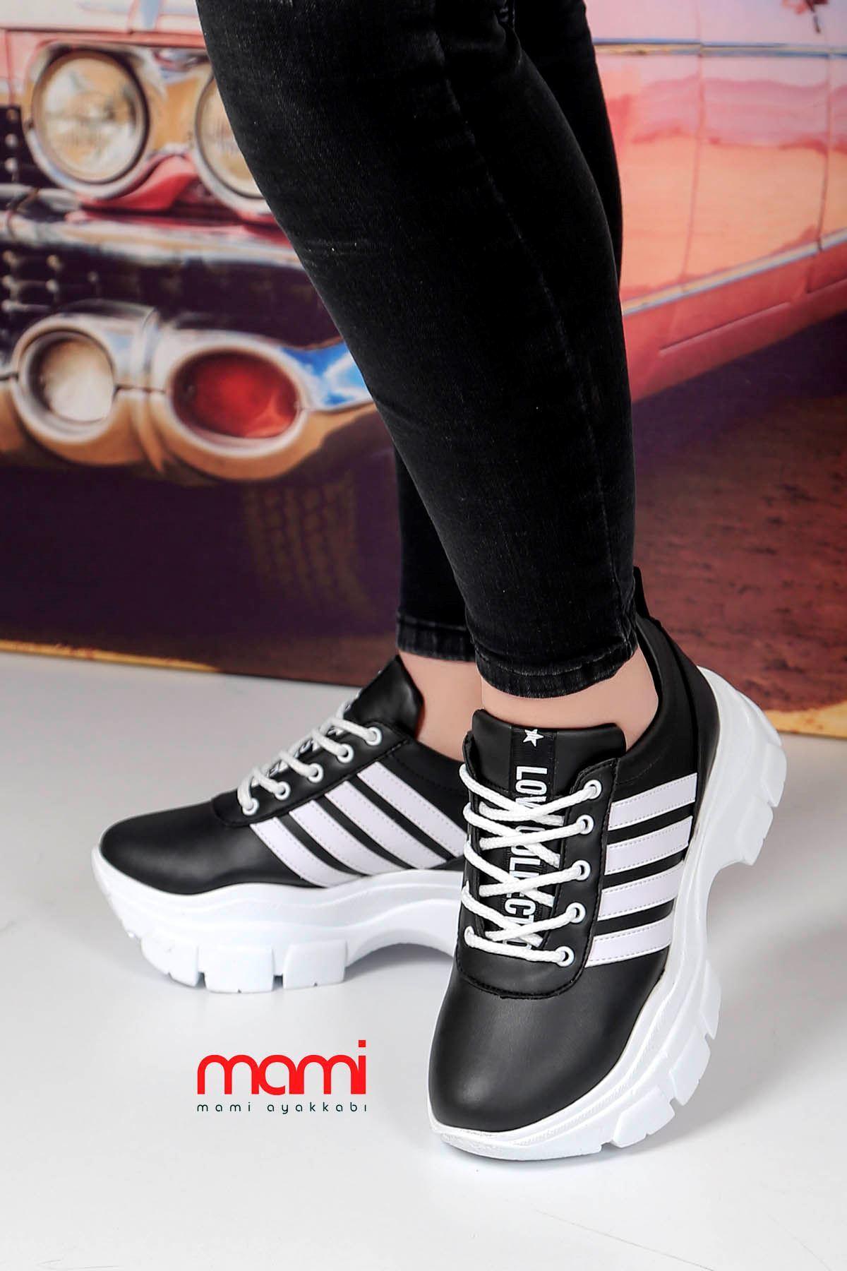 Frm-400 Tabanlı Spor Ayakkabı Siyah Deri Beyaz Şerit