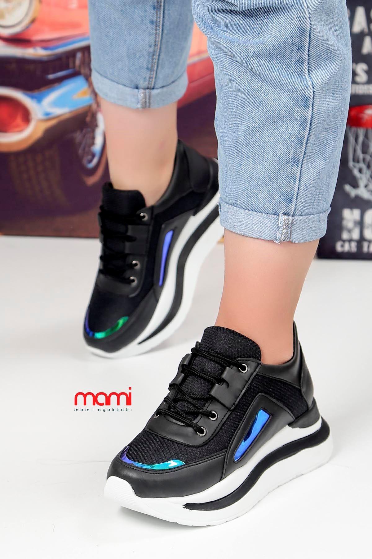 Frm-6561 Dolgu Taban Spor Ayakkabı Siyah