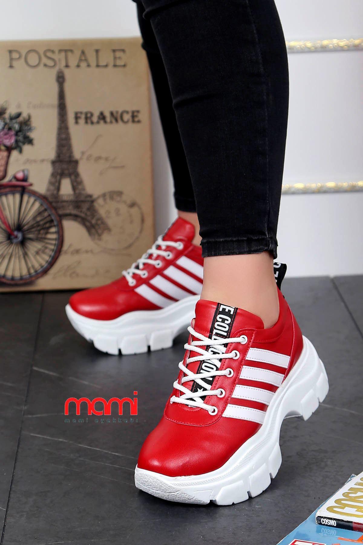 Frm-400 Tabanlı Spor Ayakkabı Kırmızı Deri Beyaz Şerit