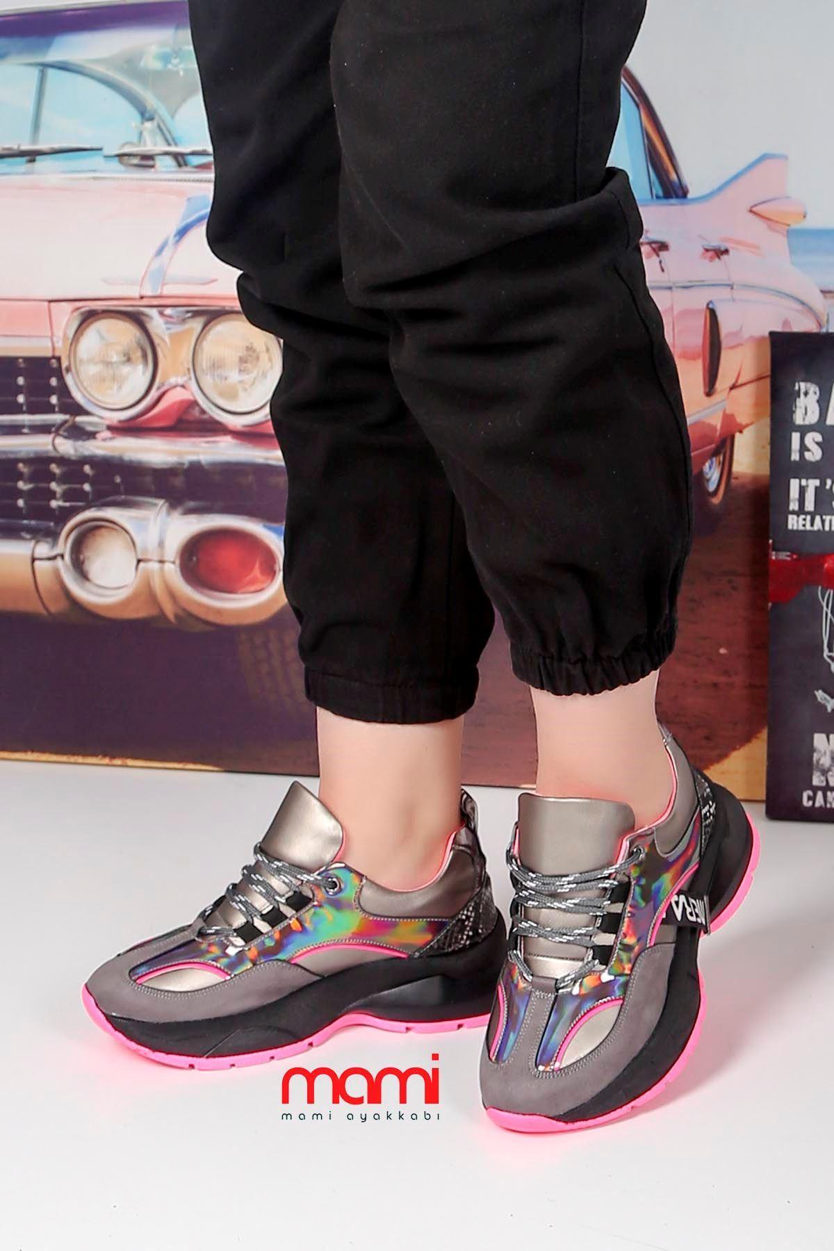 Dok-700 Bağlı Spor Ayakkabı Gri Süet Fuşya Taban