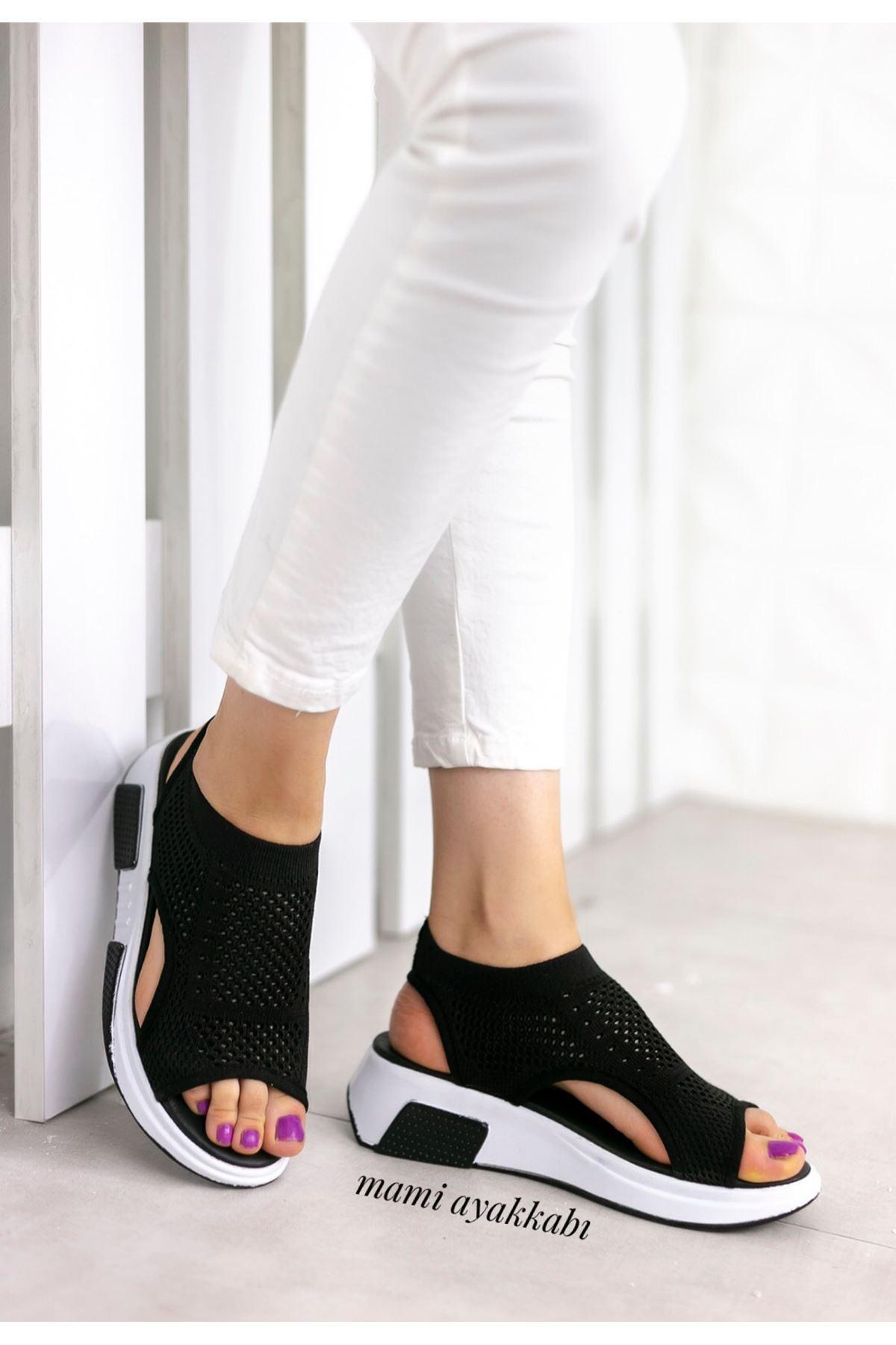 Soylu Triko Sandalet Siyah