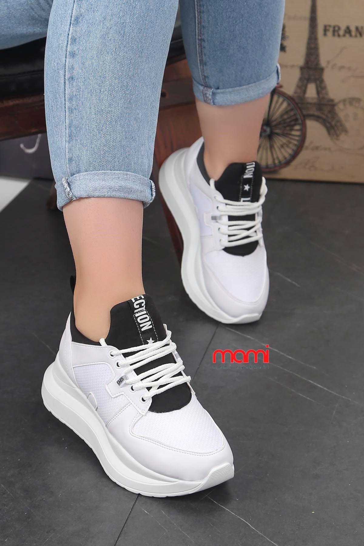 Frm-6557 Dolgu Taban Spor Ayakkabı Beyaz