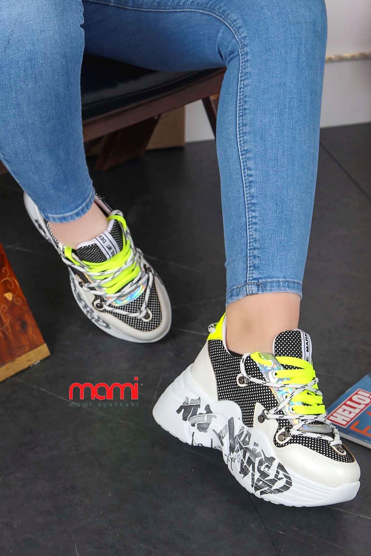 Dok-500 Resimli Taban Spor Ayakkabı Beyaz Deri