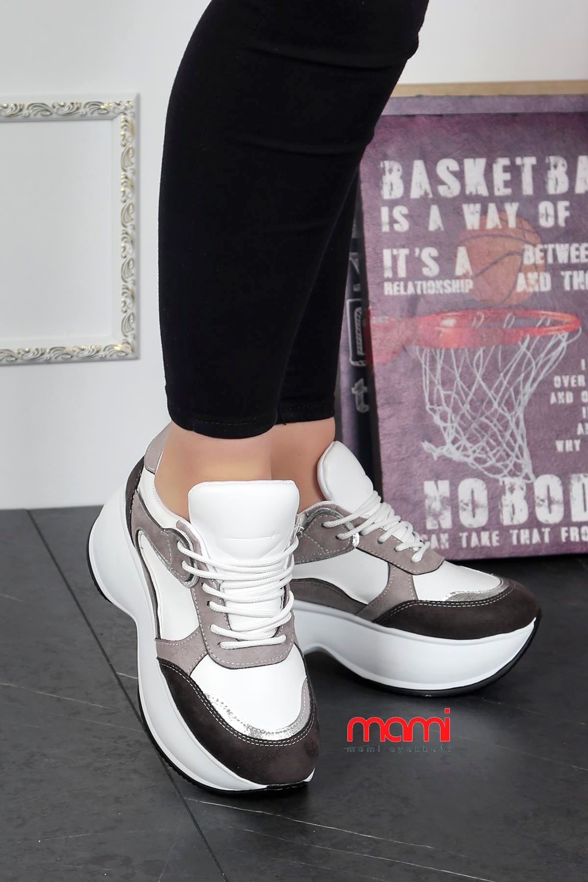 Gz-201 Tabanlı Spor Ayakkabı Beyaz Gri Deri