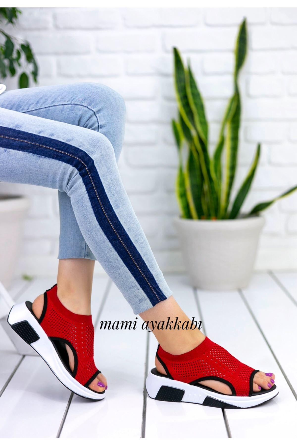 Soylu Triko Sandalet Kırmızı