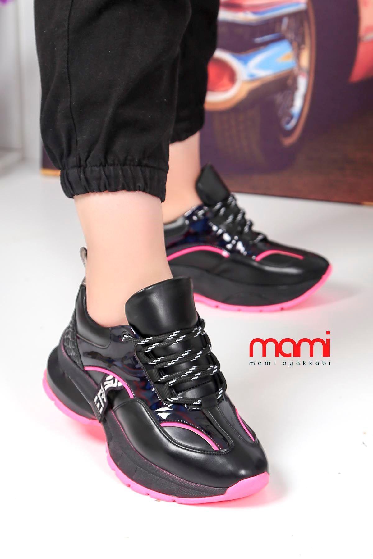 Dok-700 Bağlı Spor Ayakkabı Siyah Deri Fuşya Taban