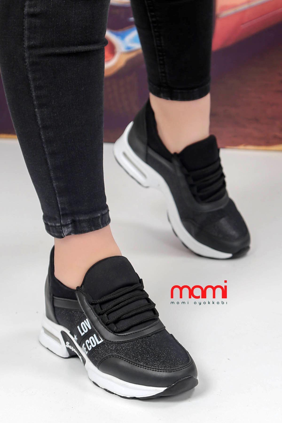 Frm-300 Gizli Topuk Spor Ayakkabı Siyah Simli