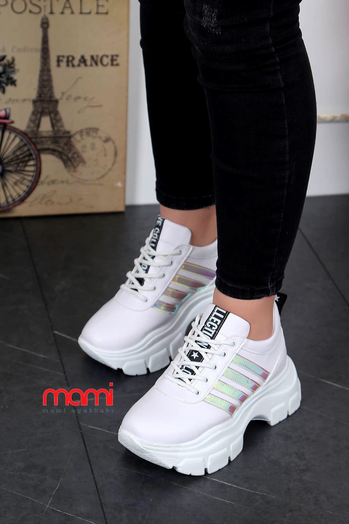 Frm-400 Tabanlı Spor Ayakkabı Beyaz Deri Hologram Şerit