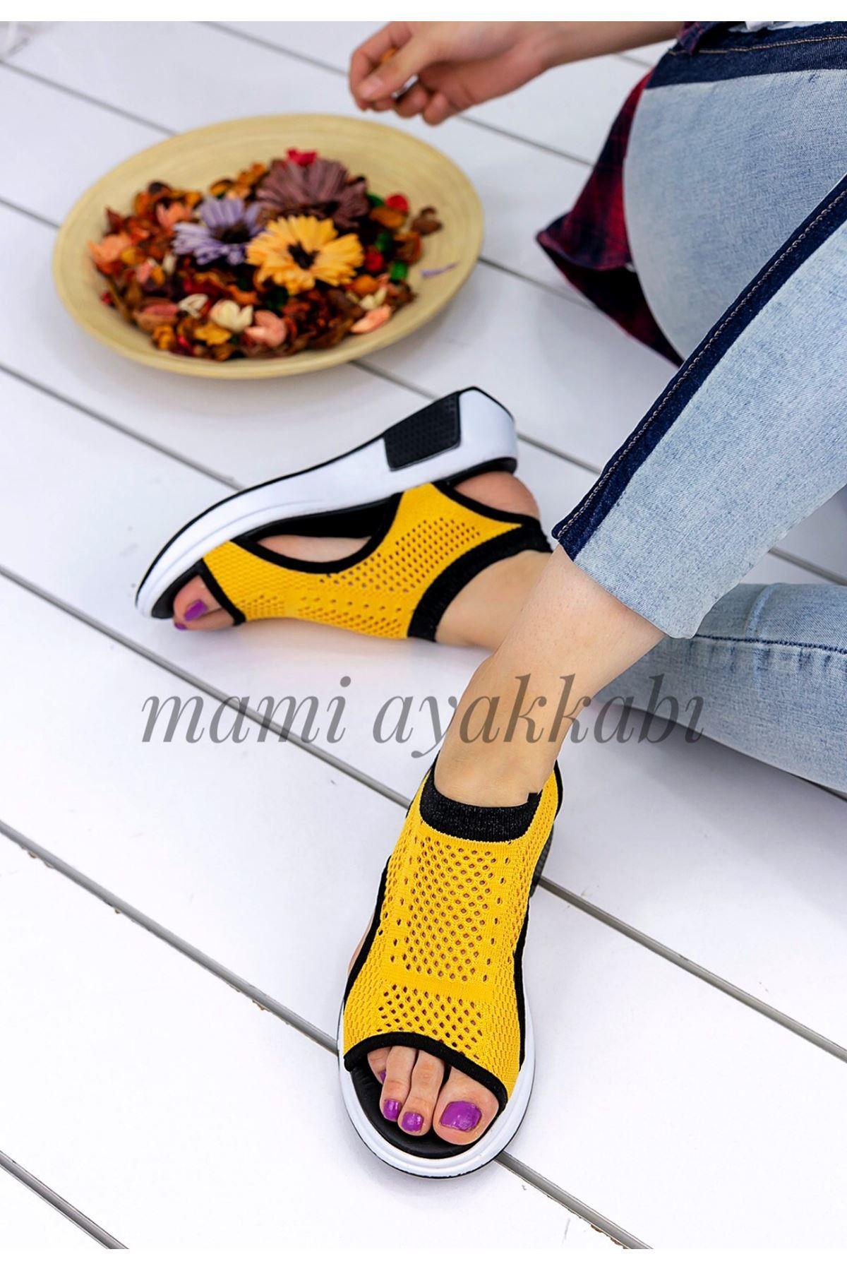 Soylu Triko Sandalet Sarı