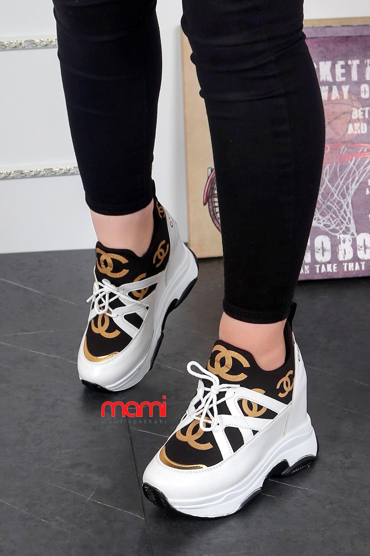 Zr-201Yüksek Taban Gizli Topuk Spor Ayakkabı Beyaz