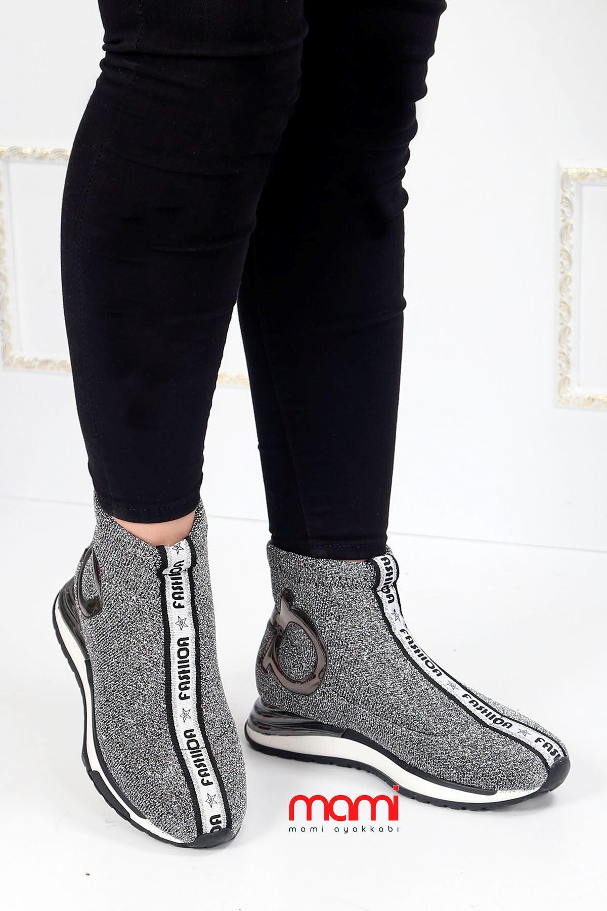 Gz-101 Çorap Triko Spor Ayakkabı Gri