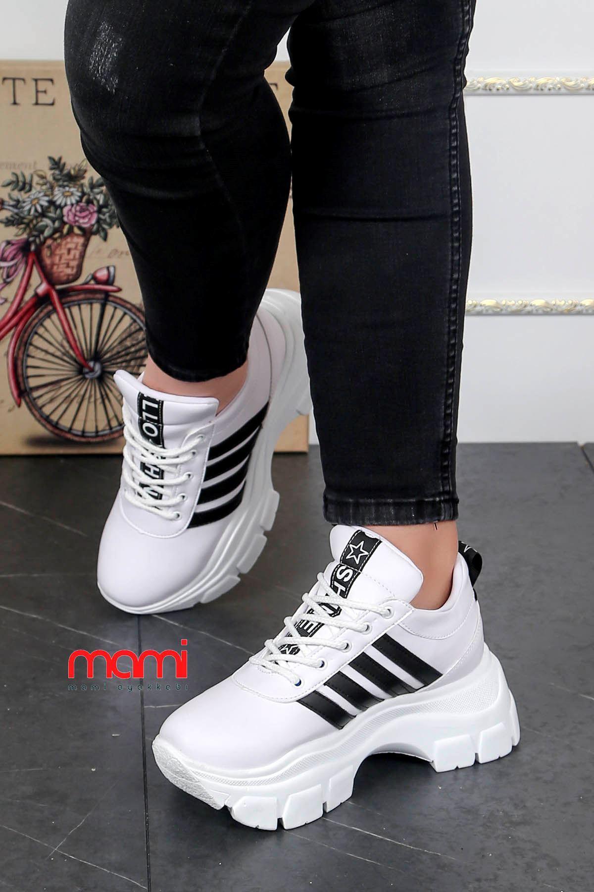 Frm-400 Tabanlı Spor Ayakkabı Beyaz Deri Siyah Şerit