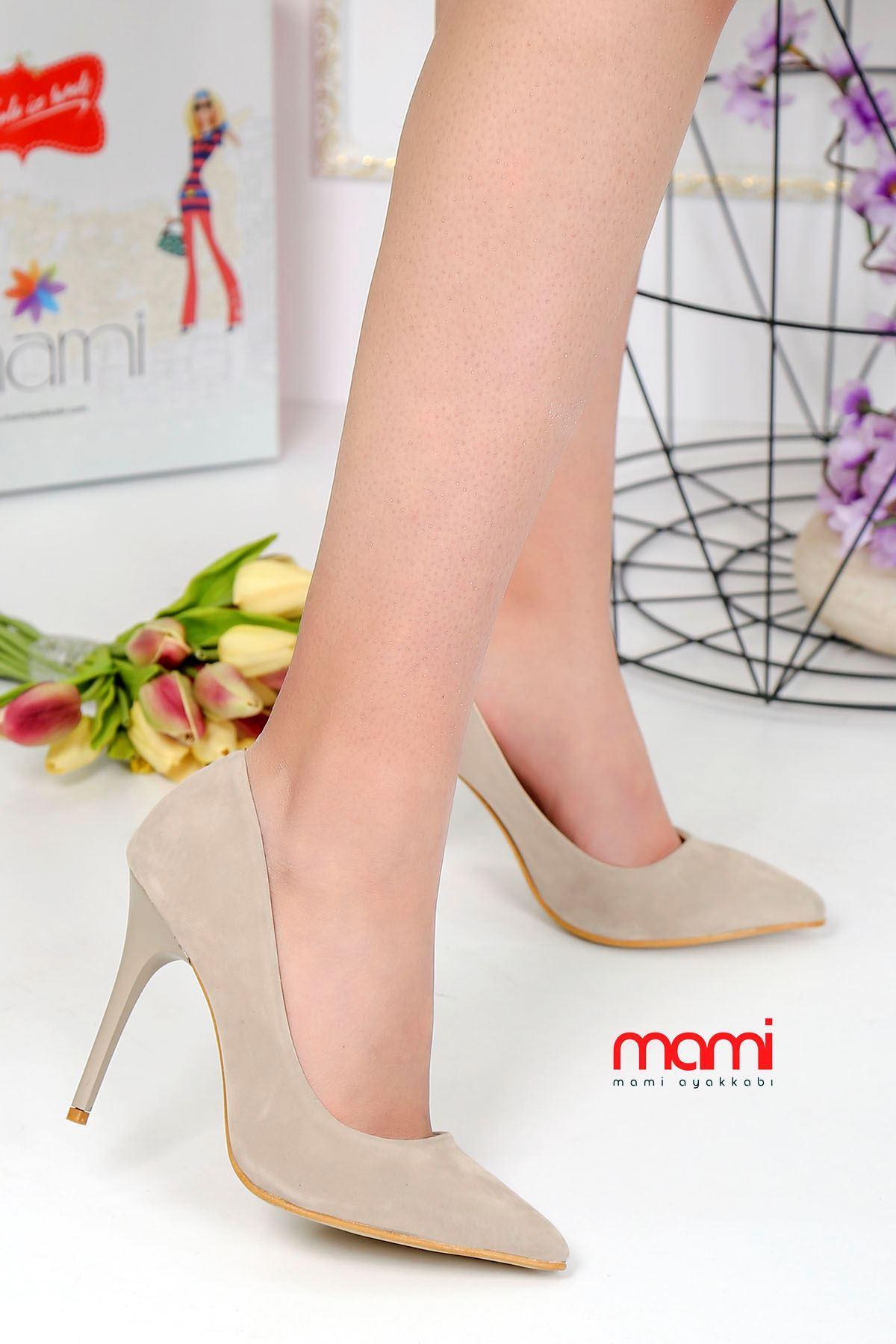 Mami- Stiletto Ayakkabı Krem Süet