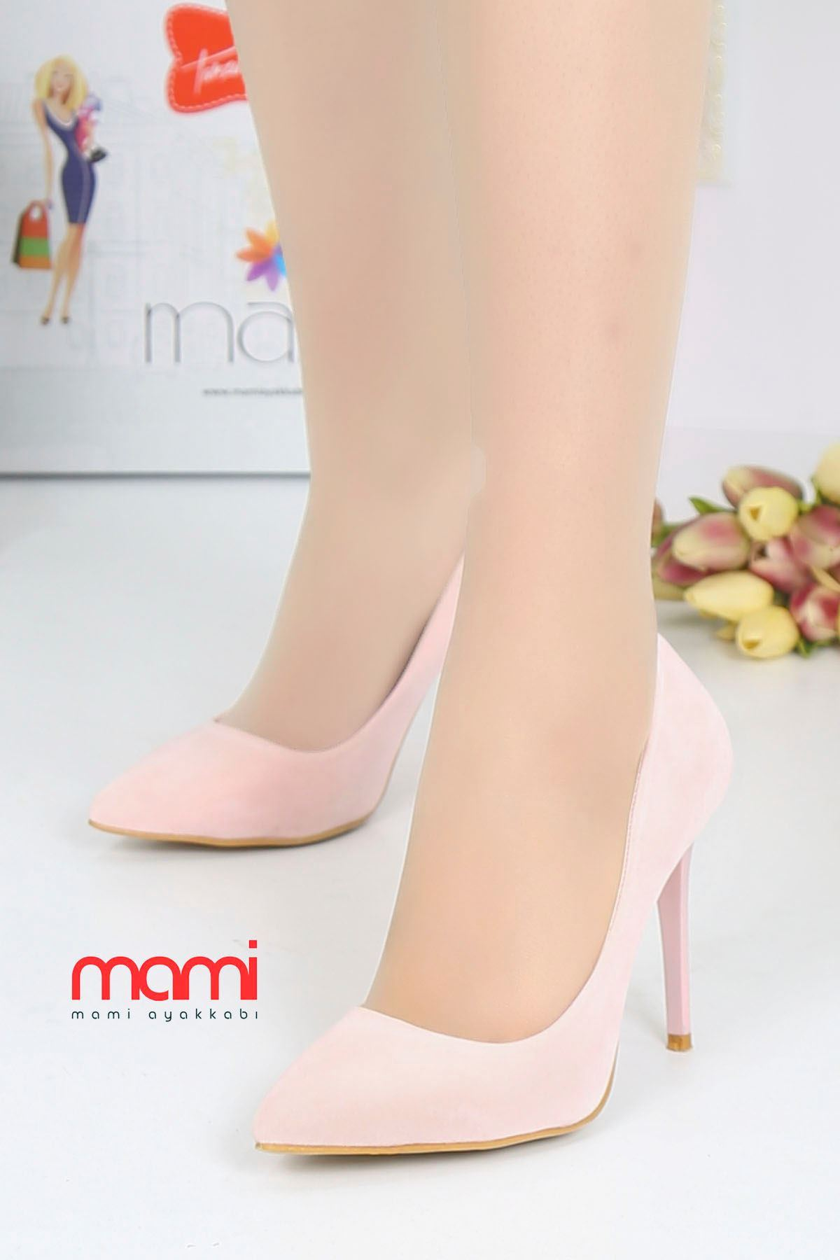 Mami- Stiletto Ayakkabı Pudra Süet