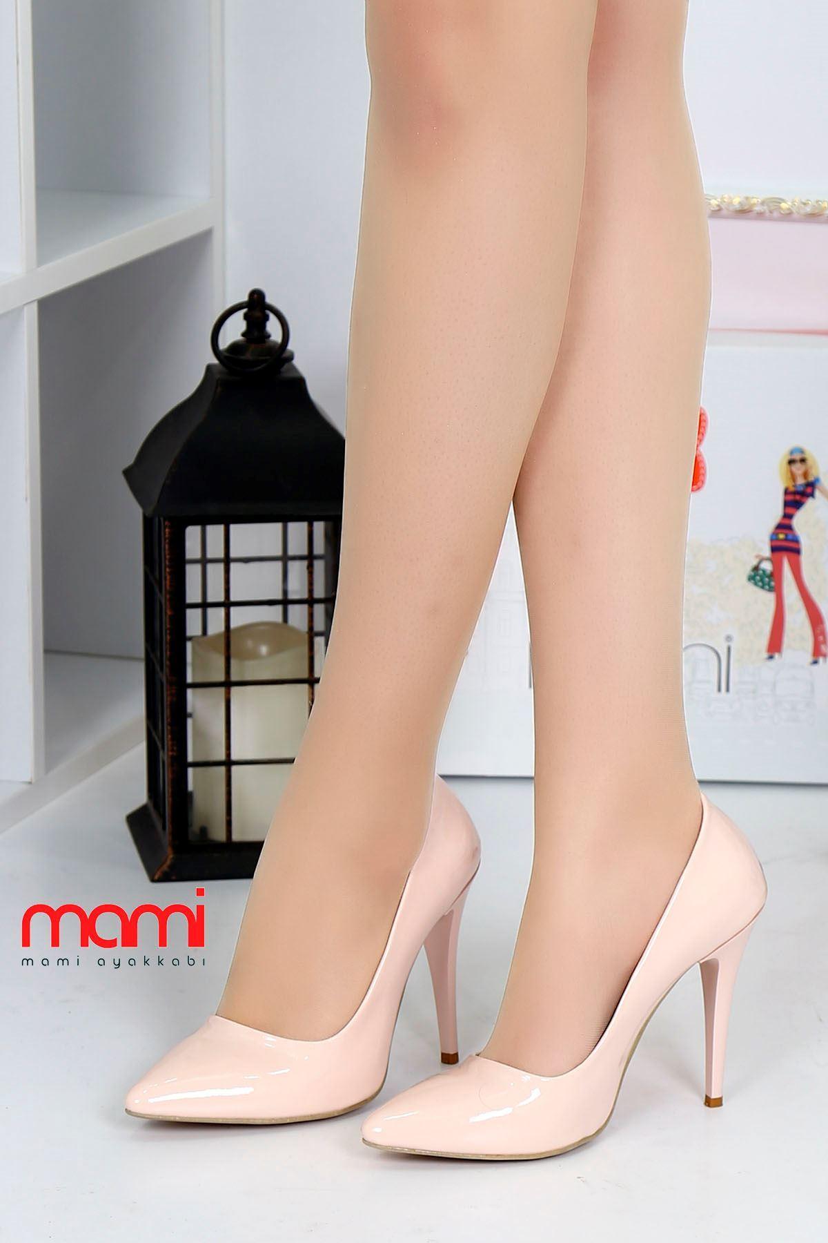 Mami- Stiletto Ayakkabı Pudra Rugan