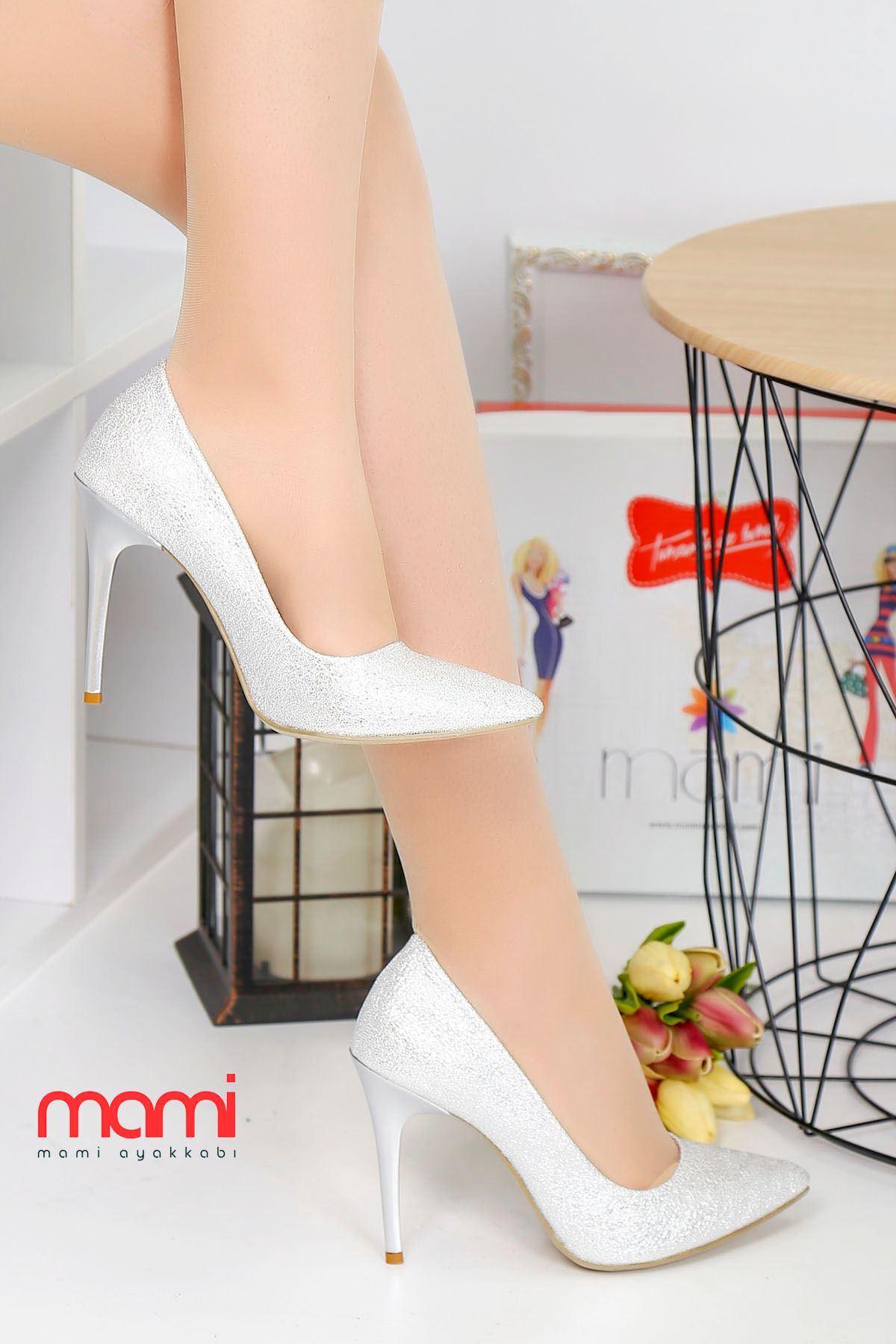 Mami- Stiletto Ayakkabı Gümüş Kırışık Deri