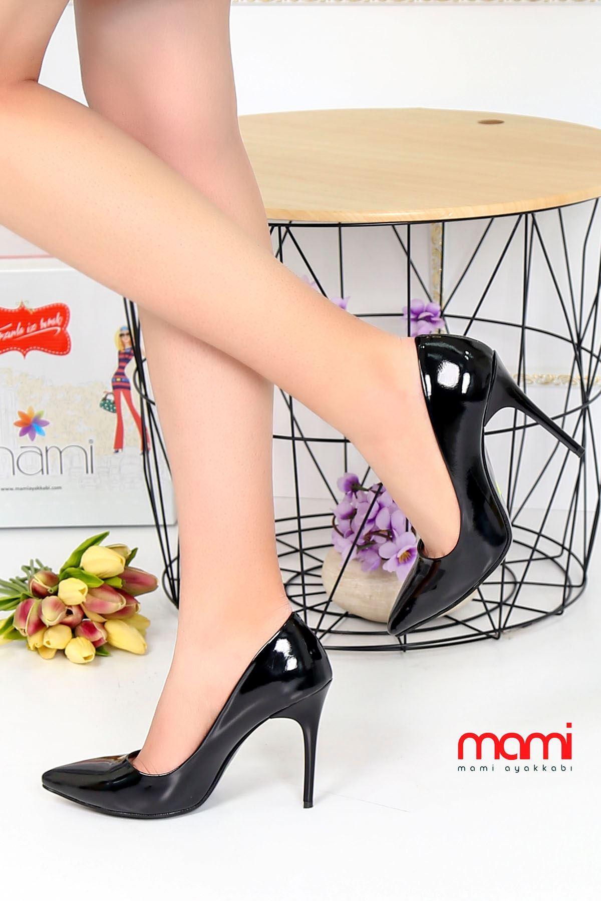 Mami- Stiletto Ayakkabı Siyah Rugan