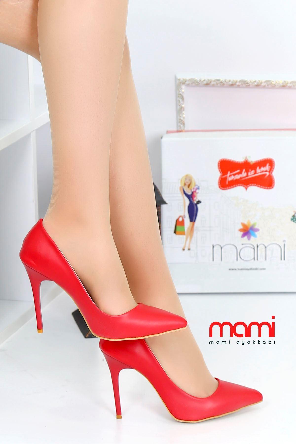 Mami- Stiletto Ayakkabı Kırmızı Deri