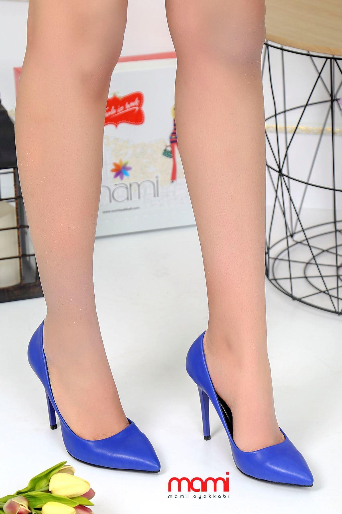 Mami- Stiletto Ayakkabı Saks Mavisi Deri