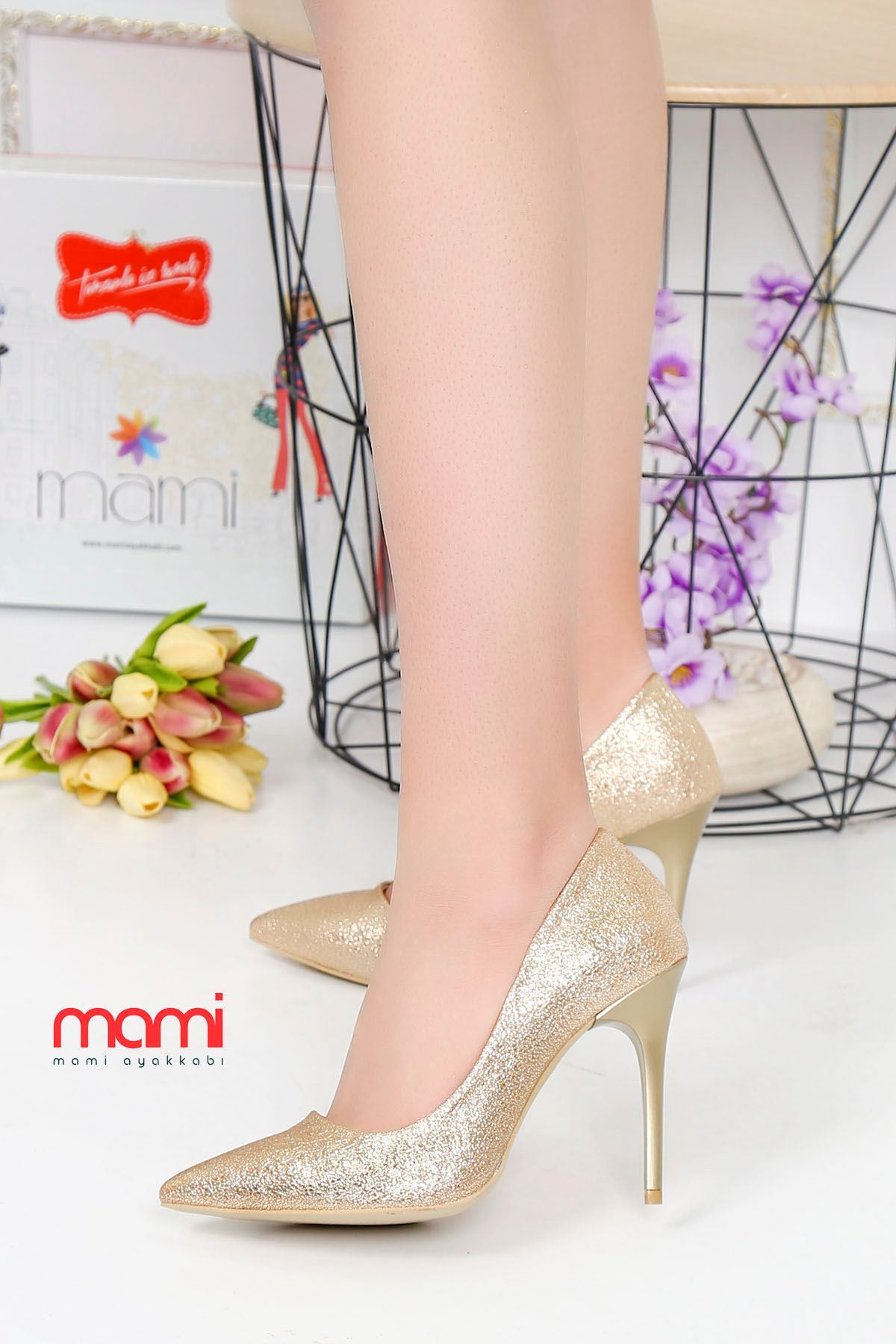 Mami- Stiletto Ayakkabı Gold Kırışık Deri