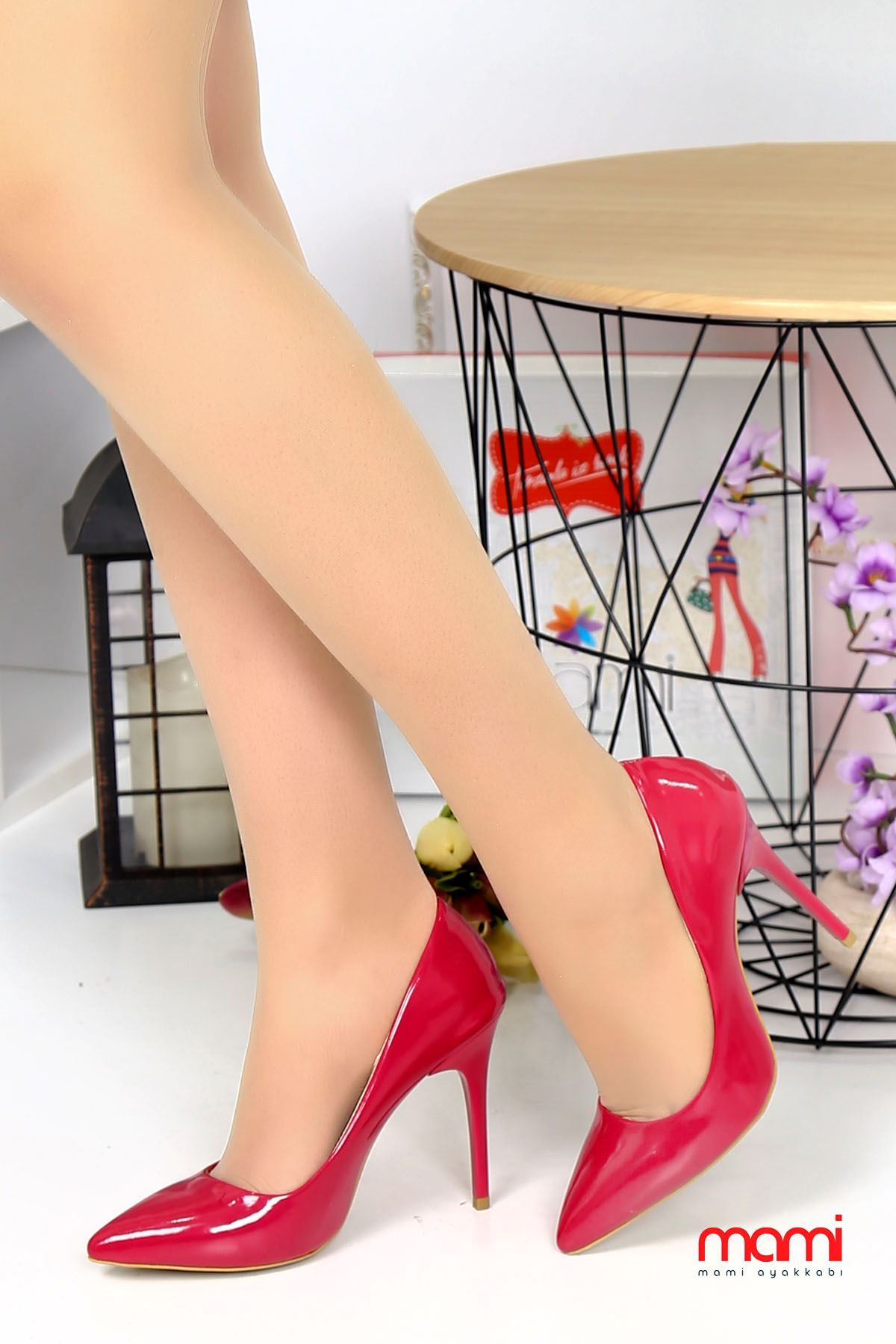 Mami- Stiletto Ayakkabı Fuşya Rugan