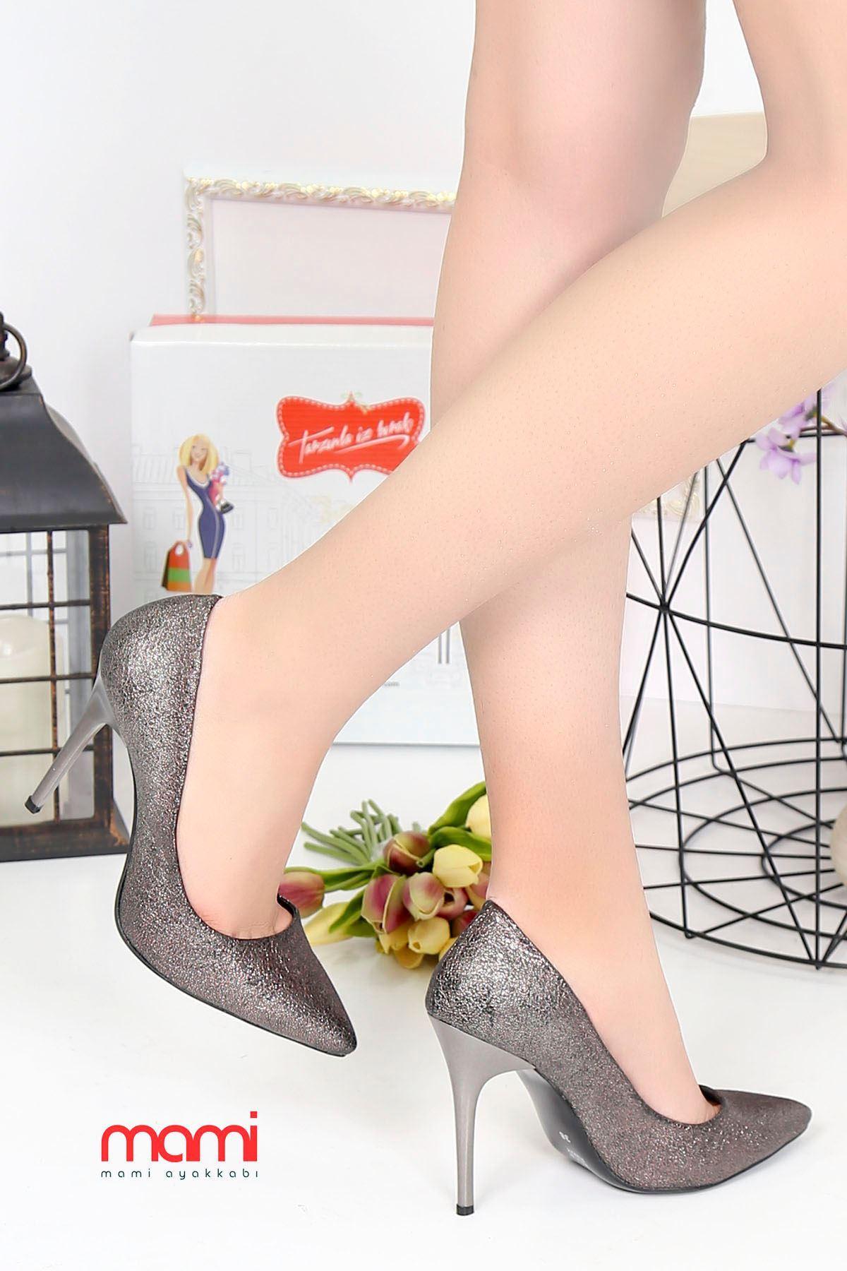 Mami- Stiletto Ayakkabı Platin Kırışık Deri