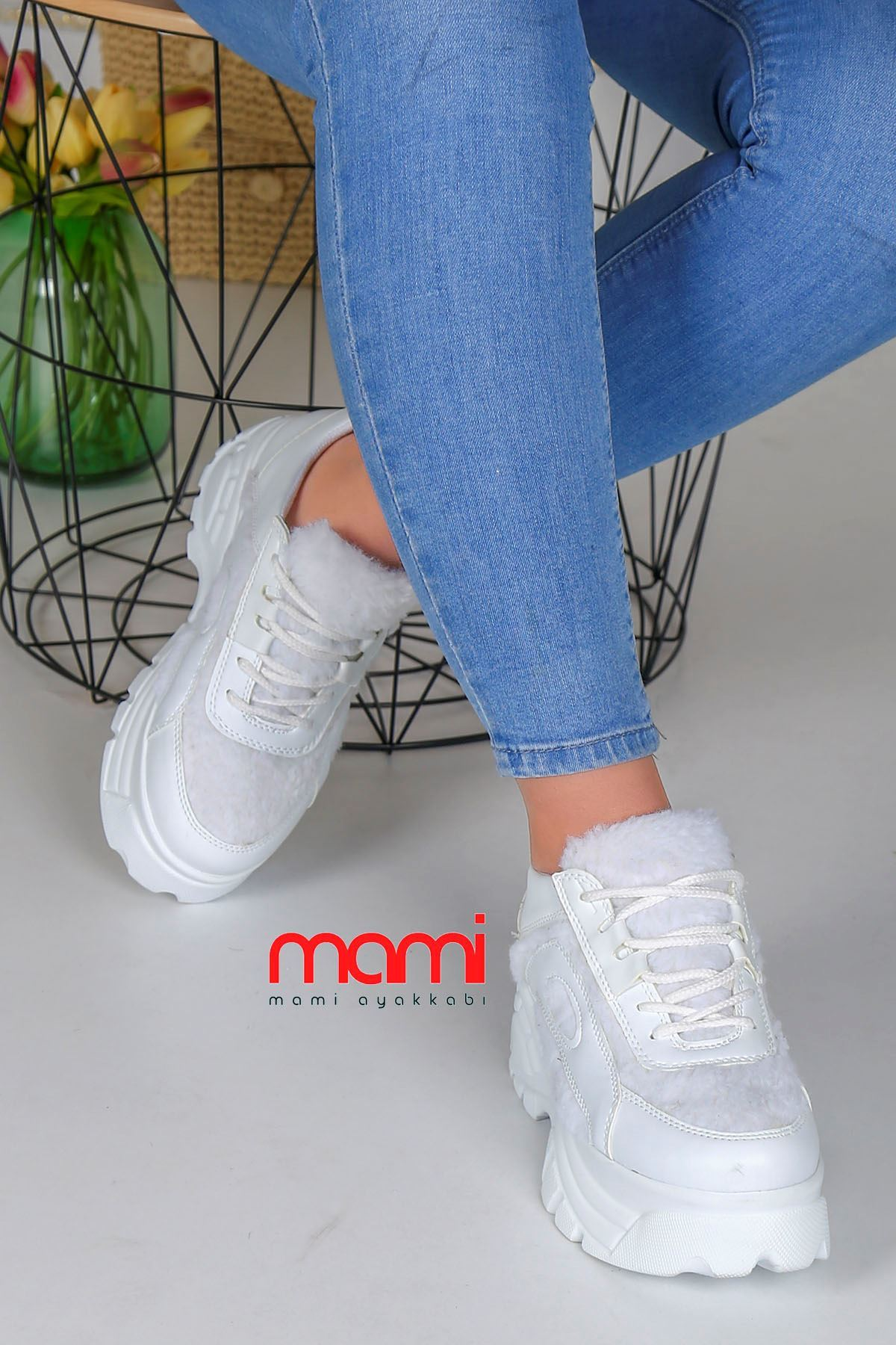 Ck-107 Beyaz peluş Spor Ayakkabı