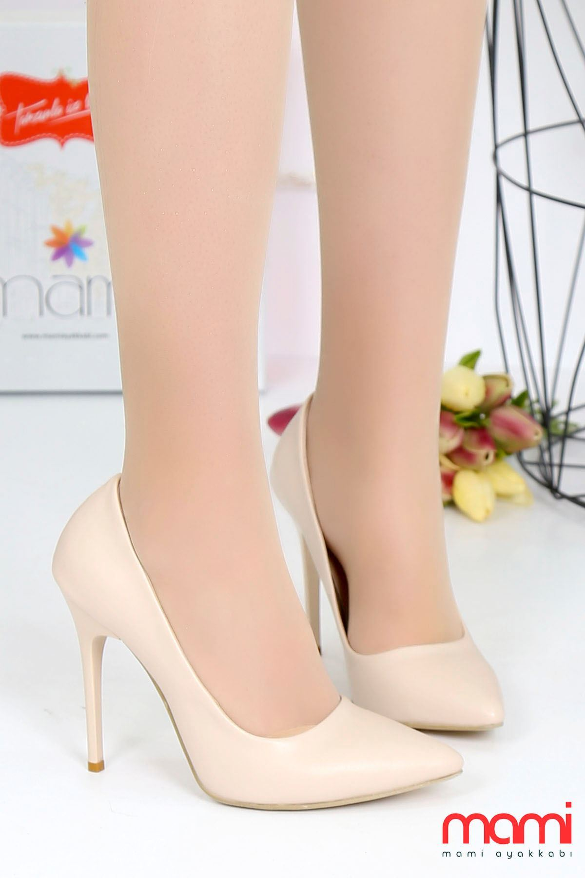 Mami- Stiletto Ayakkabı Ten Rengi Deri