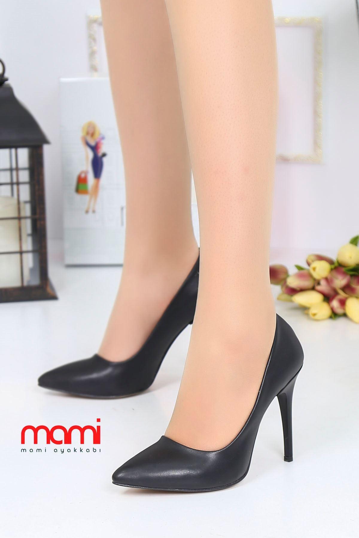 Mami- Stiletto Ayakkabı Siyah Deri