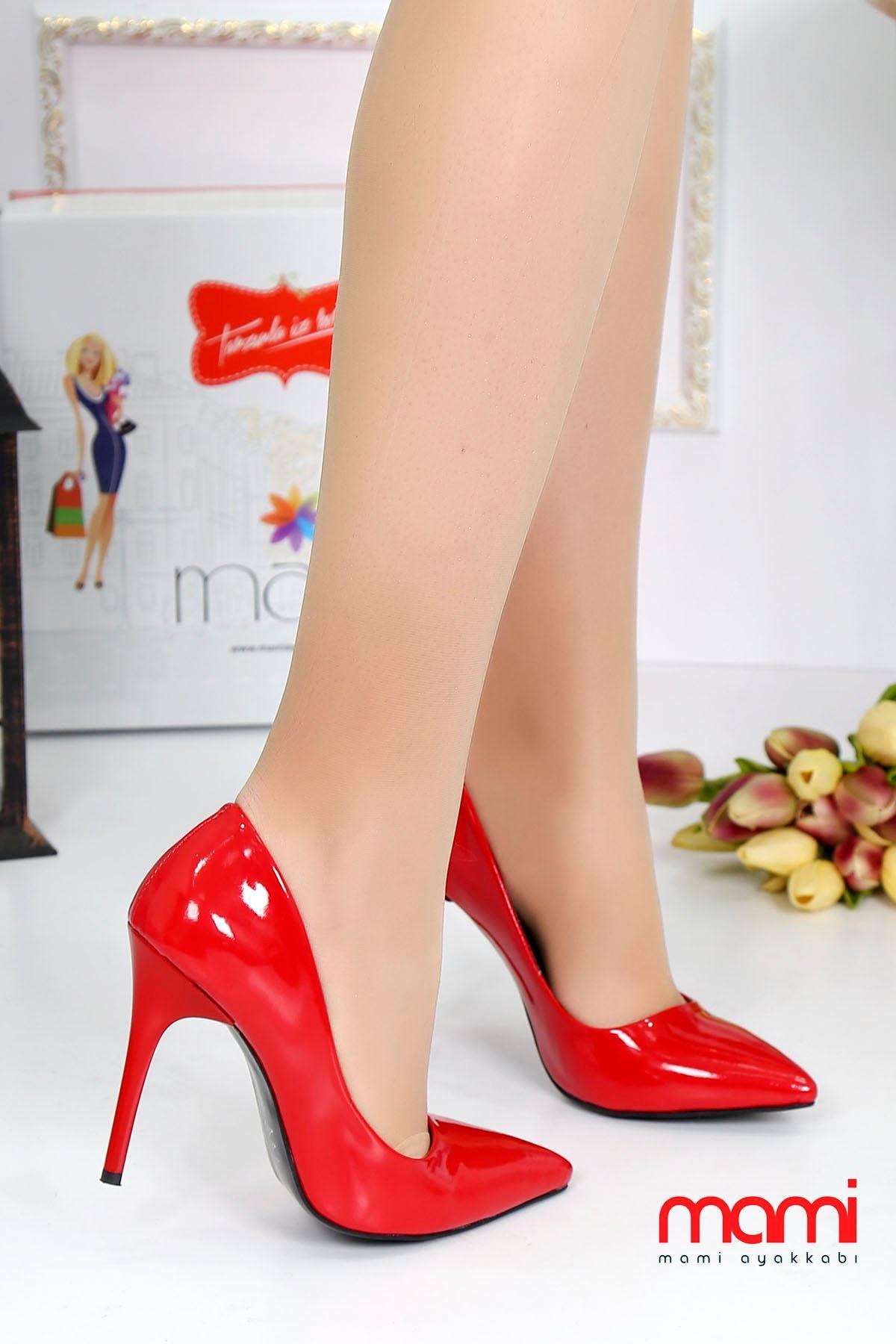 Mami- Stiletto Ayakkabı Kırmızı Rugan