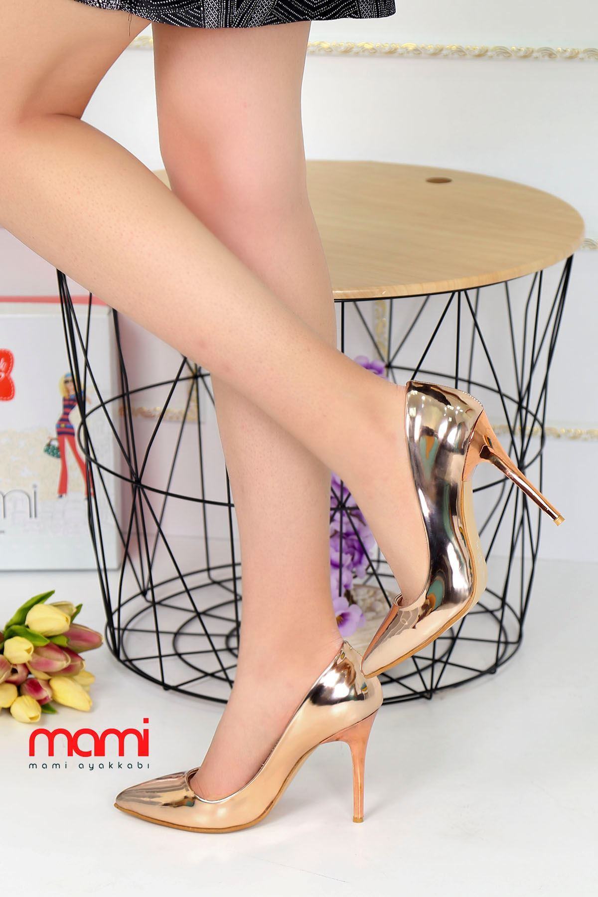 Mami- Stiletto Ayakkabı Gold Rugan