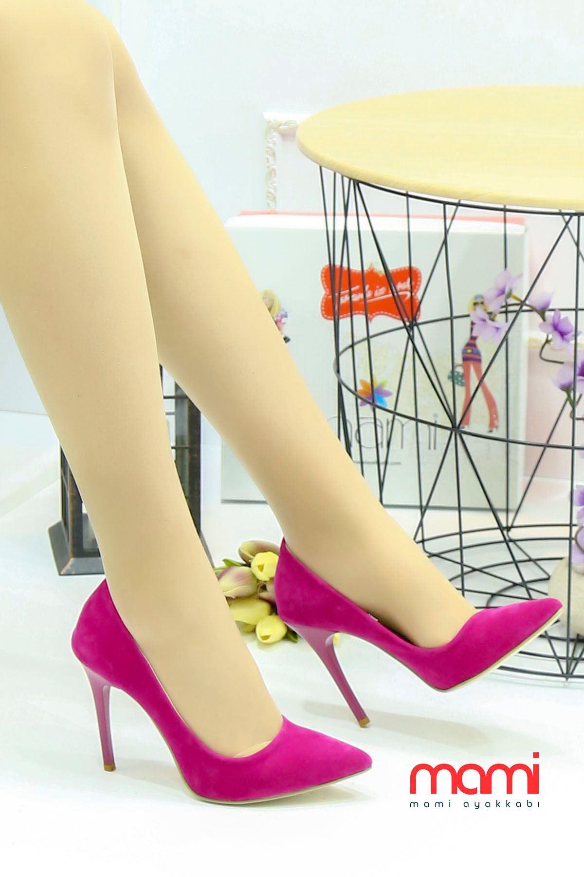 Mami- Stiletto Ayakkabı Fuşya Süet