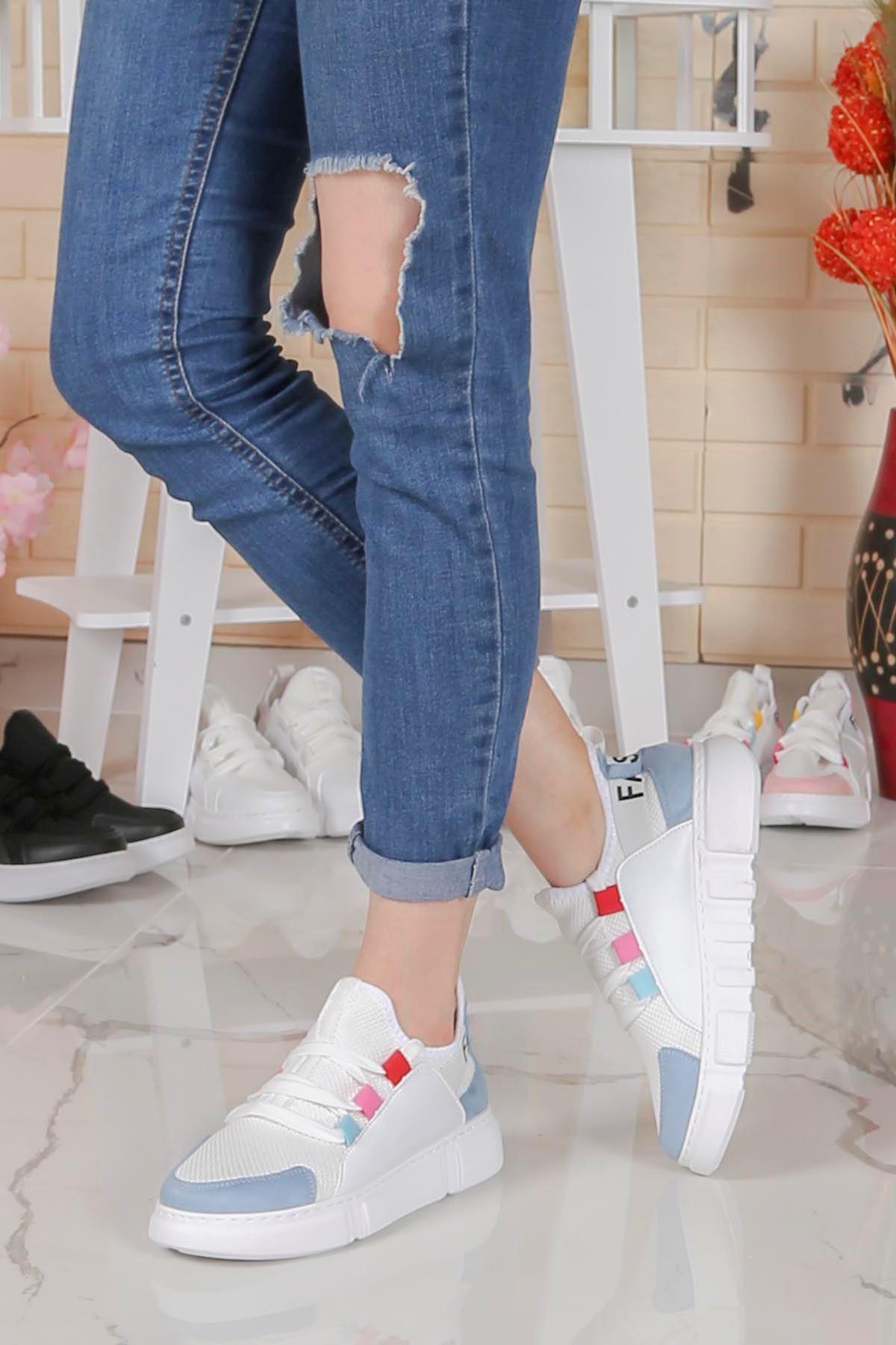 Örn-300 Beyaz Mavi Fashion Spor Ayakkabı