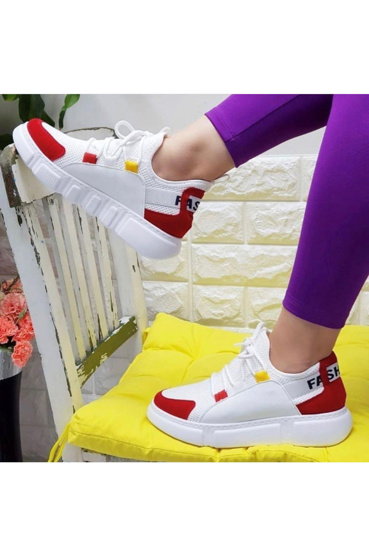 Örn-300 Beyaz Kırmızı Fashion Spor Ayakkabı