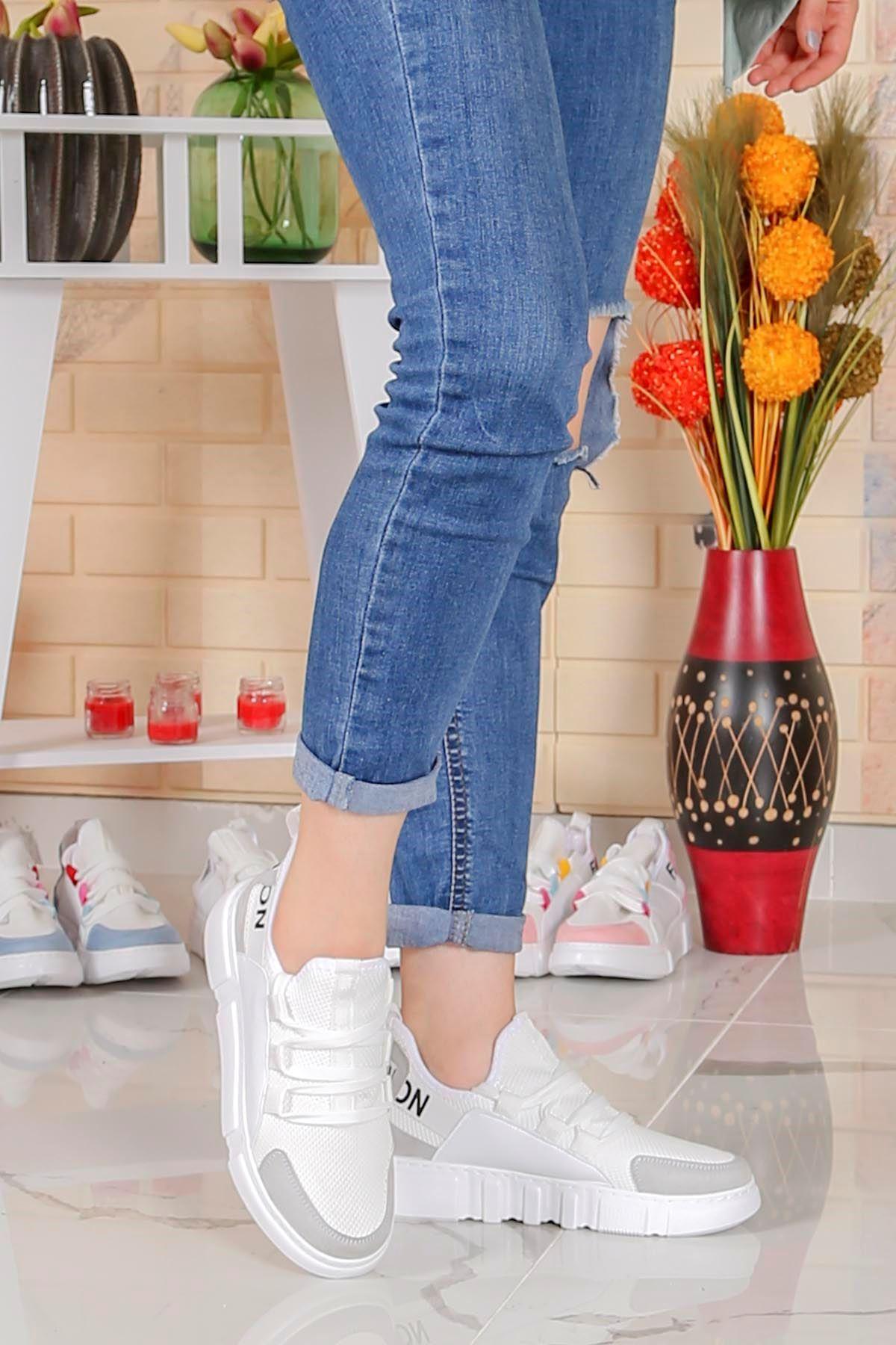 Örn-300 Beyaz Gri Fashion Spor Ayakkabı