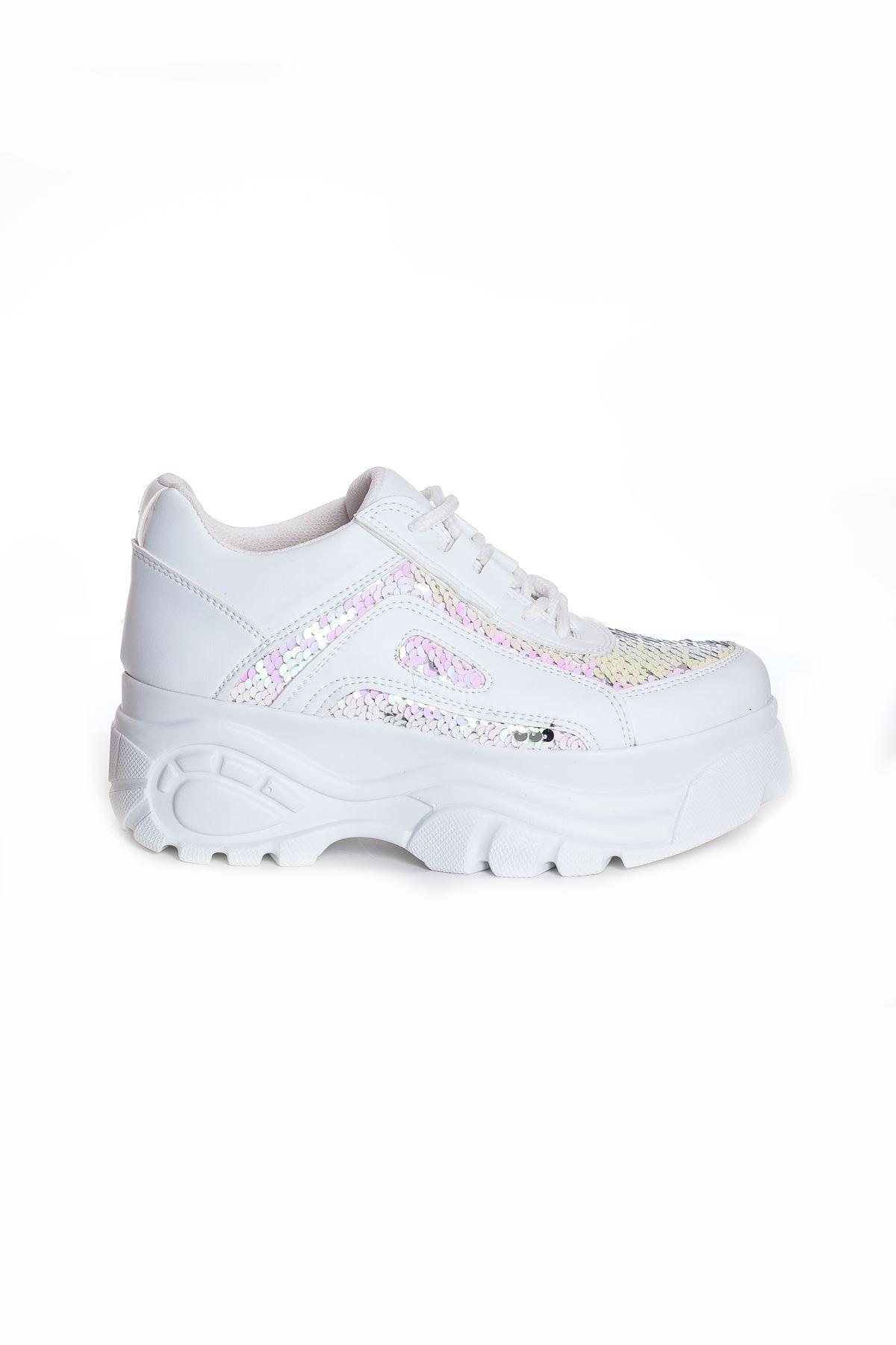Ck-107 Beyaz Deri Pullu Spor Ayakkabı