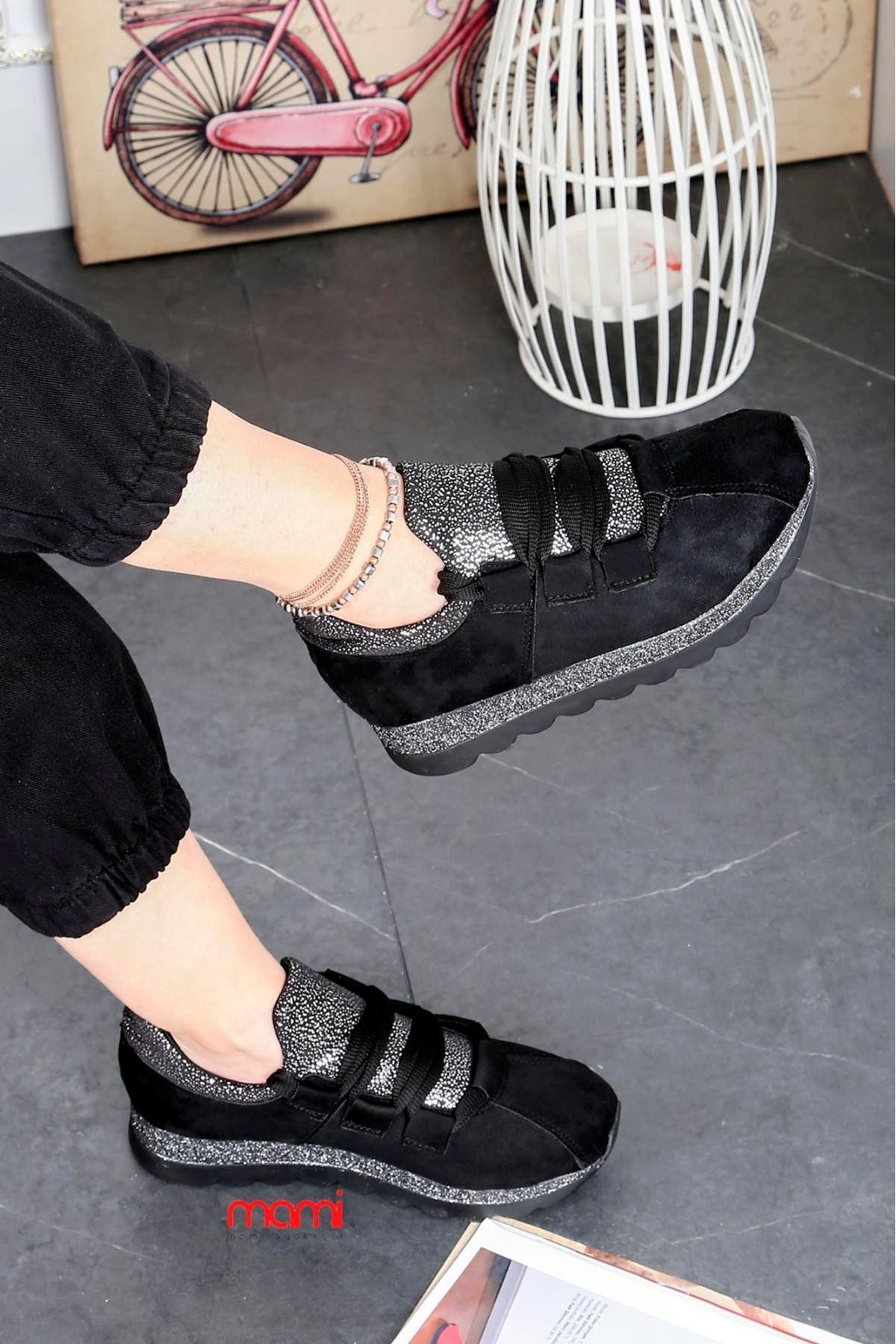 Svl-101 Bağlı Spor Ayakkabı Siyah Süet