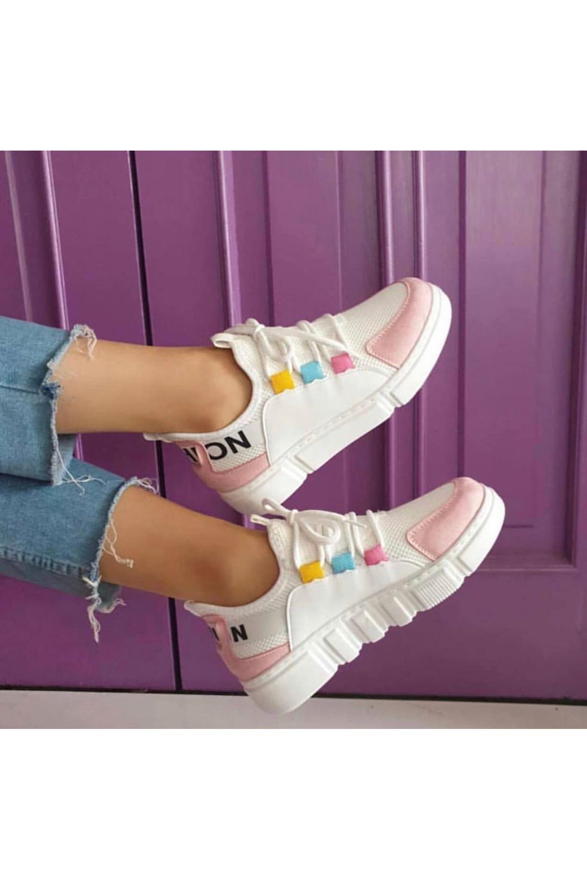 Örn-300 Beyaz Pudra Fashion Spor Ayakkabı