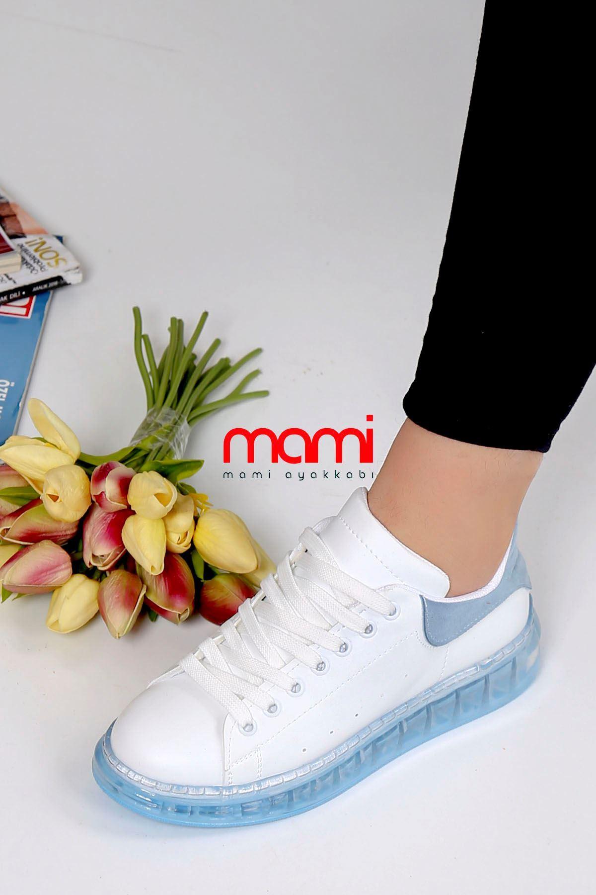 Örn-002 Spor Ayakkabı Beyaz Mavi Jel Taban